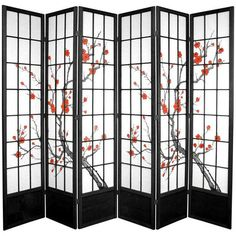 6 Panel Authentic Japanese Wooden Shoji Screen Stand Room Divider