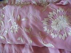 Vintage Piano Scarf Shawl Tablecloth Machine Embroidery Pink XL Fringe as Is | eBay