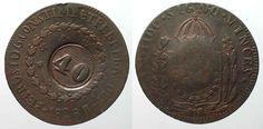 1835 Brasilien BRAZIL 40 Reis ND(1835) on 80 Reis 1828 R PEDRO I copper VF-XF #…