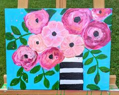 Click my link to shop for this. Flower painting. Acrylic painting. Flowers in a black and white striped vase. Custom Furniture, Painted Furniture, Painting Flowers, Flower Vases, Unique Jewelry, Handmade Gifts, Decorating, Black And White, Link