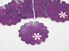 Flower Gift Tags Purple Hand punched Gift by GwensHomemadeGifts