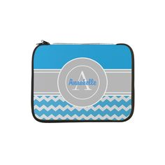 "Blue Gray Chevron Monogram Personalized 13"" Laptop"