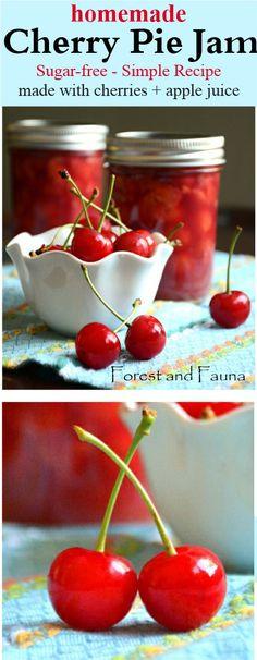 Cherry Jam - Sugar Free - Easy Recipe - Homemade Cherry Pie Jam - Vegan - Paleo