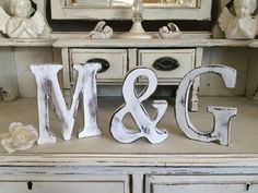 LARGE SHABBY VINTAGE WHITE WOODEN BABY NAMES A-Z INITIAL Alphabet Letters