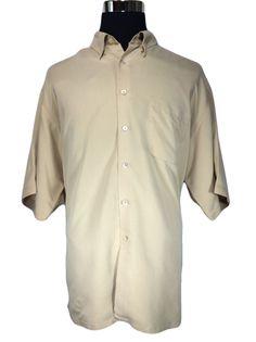BUGATCHI UOMO Casual Shirt 2XL Beige Light Coffee Button Down Short Sleeve