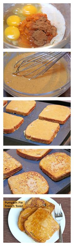 Pie French Toast Pumpkin Pie French Toast - Yes, I am ready for everything pumpkin!Pumpkin Pie French Toast - Yes, I am ready for everything pumpkin! Breakfast Desayunos, Breakfast Dishes, Breakfast Recipes, Freezer Breakfast Sandwiches, Brunch Recipes, Fall Recipes, Holiday Recipes, Brunch Appetizers, Brunch Drinks