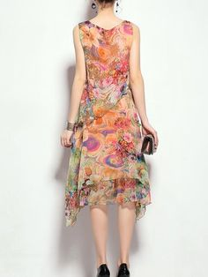 Floral Crew Neck Casual Sleeveless Asymmetrical Midi Dress