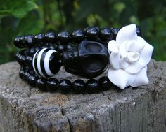 Day of the Dead Sugar Skull Bracelet 3 Loops Wrap Around  Black & White Cuff NEW #donnaelizabethdesign #Beaded