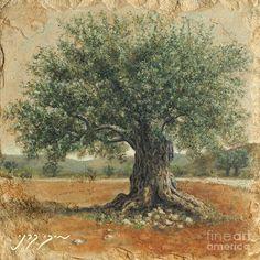 "Miki Karni. ""Ancient Olive Tree"". Oil On Stone."