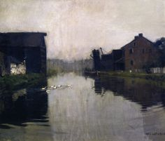 """Misty Day on the Canal,"" William Langson Lathrop, ca. , oil on canvas, 25 x 30"", private collection."
