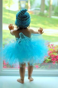 Sweet baby girl blue tutu