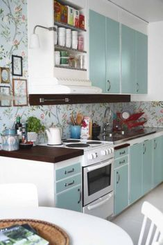 Muted Red And Aqua Kitchen Like How They Only Painted The Cabinet Doors Aqua
