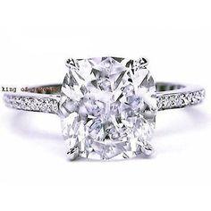 2.50 Ct. Cushion Cut Micro Pave Round Diamond Engagement Ring I,VS1 EGL USA 18K #DiamondEngagementRings
