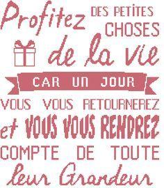 Grille gratuite de point de croix : Affiche «Profitez de la vie»