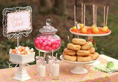 Sweets table for a garden wedding reception