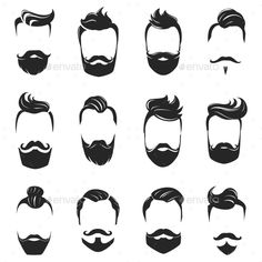 Buy Hairstyles Beard and Hair Monochrome Set by macrovector on GraphicRiver. Hipster fashionable beard moustache and hair styles monochrome set isolated on white background flat vector illustrat. Mens Hairstyles With Beard, Hair And Beard Styles, Hair Styles, Beard Logo, Beard Tattoo, Beard Art, Japanese Hairstyle, Vintage Hairstyles, Men's Hairstyles