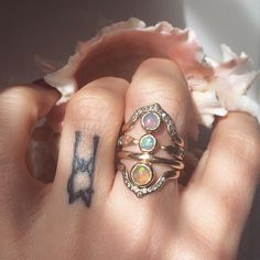 When 4 become one Arcos ring with diamond pave and opal, Geis open ring with diamonds, Parallel Duo ring with opal and Arcos diamond pave ring #opal #diamonds  #jewelry #materiaprimafine