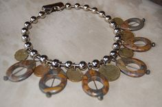 Statement Necklace - Stone beads with vintage coins by Menono Designs