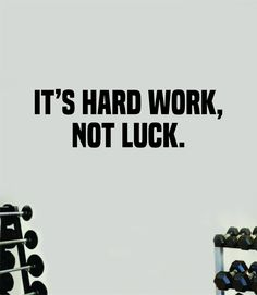 It's Hard Work Not Luck Wall Decal Home Decor Bedroom Room Vinyl Sticker Art Teen Work Out Quote Beast Gym Fitness Lift Strong Inspirational Motivational Health - red