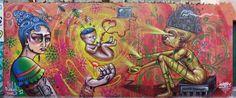 """""""Filhos da Terra"""" Mural by the Clandestinos (Shalak and Smoky), Brasilandia, Sao Paulo, Brazil. 2012"""
