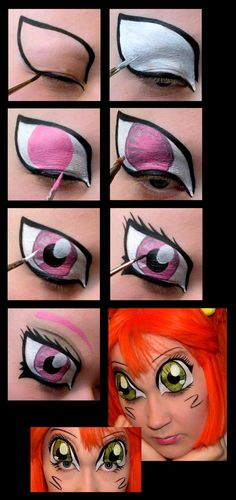 Body painting manga eyes - step by step for anime eyes for con or Halloween. Face Painting Tutorials, Face Painting Designs, Paint Designs, Eye Face Painting, Face Art, Face Paintings, Tole Painting, Face Paint Makeup, Eyebrow Makeup