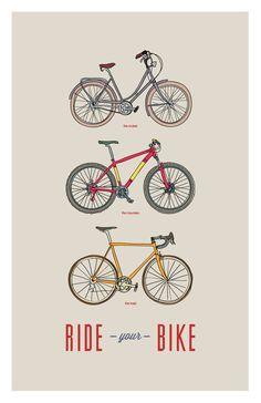 Ride Your Bike - Cruiser, Road, Mountain Hand Illustrated 11x17 - Digital Print. $15.00, via Etsy.