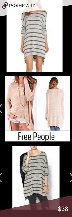 Free People Pullover Love this oversized tunic sweater that I lovingly wore . Good condition . Very small spot that could likely come out I just didn't spot clean it . My cleaning lady accidentally put in the dryer so it's shrunk alittle in lenght . Still very oversized and loose . Size Small could fit medium too . Pre owned . Free People Tops