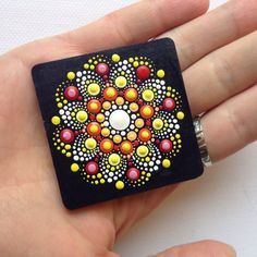 Dot Art Mandala Magnet Painted Wood Gift by CreateAndCherish