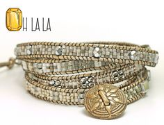 Wrap Crystal Bracelet with Beads on Pearl Leather with Bronze Button