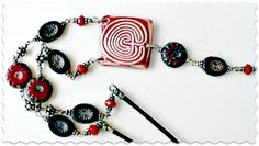 December 2012 - Labyrinth necklace featuring a ceramic focal by Jenny Davies-Reazor, black leather and fun Czech glass beads.