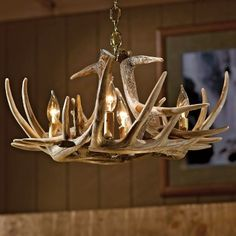 Cabelas: Cabelas Six-Antler Reproduction Whitetail Chandelier- Adam and I want to put this above the stairs by the doorway! :-)