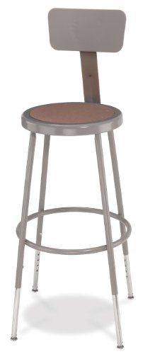 "National Public Seating 6224HB-CN Steel Stool with Hardboard Seat Adjustable and Backrest, 25""-33"", Grey (Pack of 4)"