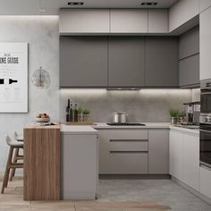 30 Modern Kitchen Interior Ideas To Inspire You - Inspiring Kitchen Cabinet Colors and Ideas That Will Blow You Away - Small Modern Kitchens, Modern Kitchen Interiors, Luxury Kitchen Design, Contemporary Kitchen Design, Interior Design Kitchen, Home Design, Kitchen Modern, Kitchen Designs, Kitchen Grey