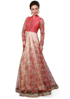 Featuring peach and beige floral anarkali suit  only on Kalki