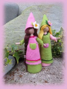 Felted pixies in pink and green Price for one by LivelySheep