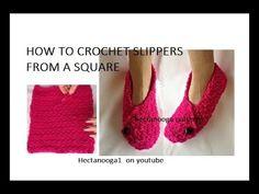 Ravelry: Slippers from Square pattern by Emi Harrington Diy Crochet Slippers, Easy Crochet Socks, Crochet Boot Cuffs, Crochet Boots, Crochet Mittens, Easy Knitting, Crochet Stitches, Crochet Pattern, Knit Crochet