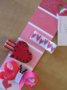 DIY Valentines bows and clips on paint chips for gift giving