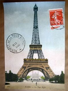 This Eiffel Tower Paris France Postcard Vintage Style Poster is wonderful ephemera for crafts, decoupage, gift wrap, framing, and more. Made of high quality Italian paper stock. By Cavallini. Tour Eifel, Eiffel Tower Tour, Eiffel Towers, Posters Vintage, Vintage Postcards, French Posters, Vintage Paris, Paris Torre Eiffel, Images Noêl Vintages