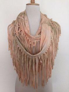 New Authentic Chan Luu Tie Dye Infinity Fringe Scarf Color: Peach  | eBay
