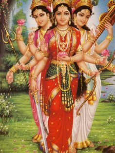 (The Goddesses Parvati, Lakshmi and Saraswati). This a fantastic look at the Hindu goddesses. Featuring Lakshmi the consort to Vishnu, Saraswati the consort to Brahma and Parvati the consort to Shiva: divine mother to all the goddesses. Saraswati Goddess, Shiva Shakti, Kali Goddess, Saraswati Mata, Mother Goddess, Indian Goddess, Goddess Art, Sacred Feminine, Divine Feminine