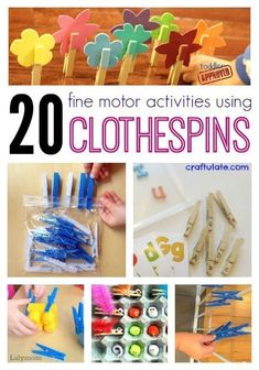 These clothespin activities from LalyMom are inexpensive, portable, and perfect for building fine motor skills. Make an entire mini curriculum with dollar store items featuring simple cloths pins for inexpensive totschool or preschool. Kids will LOVE these fun, hands-on activities! Toddler Fine Motor Activities, Early Learning Activities, Motor Skills Activities, Activities For Adults, Infant Activities, Fine Motor Skills, Preschool Activities, Movement Activities, Children Activities