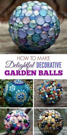 How to make delightful decorative garden balls for your outdoor space. #gardenart #gardendecor #gardendiy #outdoorart #gardenball #weekendcrafts #empressofdirt #glassgems
