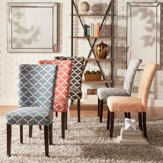 Catherine Moroccan Pattern Fabric Parsons Dining Chair (Set of by iNSPIRE Q Bold (Charcoal Black) Rustic Dining Chairs, Parsons Dining Chairs, Dining Room Bar, Outdoor Dining Furniture, Fabric Dining Chairs, Upholstered Dining Chairs, Dining Chair Set, Kitchen Chairs, Moroccan Furniture