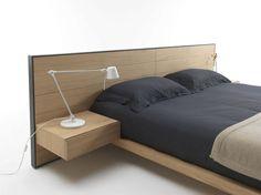Double bed / contemporary / wood / bed-side table - RIALTO by Giuliano Cappelletti - Riva Industria Mobili