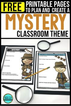 elementary classroom decor Photos, ideas & printable classroom decorations to help teachers plan & create an inviting Mystery Detective themed classroom on a budget. Lots of free decor tips & pictures. Elementary Classroom Themes, Special Education Classroom, Elementary Teacher, Escape Room, Classroom Organization, Classroom Decor, Detective Theme, Esl, First Year Teachers
