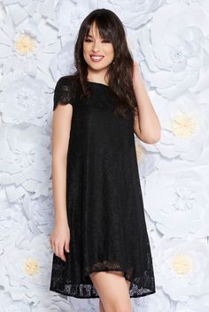 StarShinerS black elegant flared dress laced with inside lining short sleeves, inside lining, easy cut, short sleeves, laced fabric