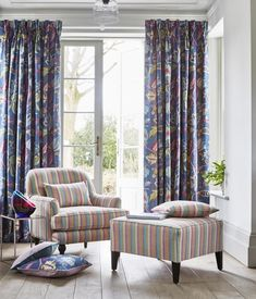 #prestigioustextiles #harlow #navy #curtains #blueandpink #floral #summer #homedecor #stripe #garden #upholstery #drapery How To Make Curtains, Made To Measure Curtains, Nautical Wallpaper, Prestigious Textiles, How To Hang Wallpaper, Living Room Green, Modern Prints, Printing On Fabric, Interior Design