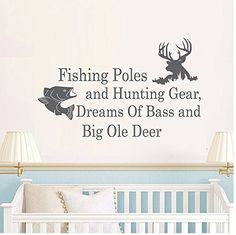 Wall Decal Decor Wall Decals Quotes Fishing Poles And Hunting Gear Dreams Of Bass And Big… Wall Decals For Bedroom, Vinyl Wall Decals, Fishing Quotes, Hunting Quotes, Hunting Gear, Living Room Decor, Nursery, Wall Decor, Bass