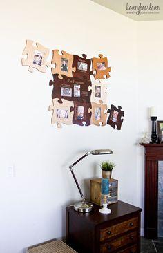 Awesome gift idea for families, parents, grandparents...puzzle piece frames!  Decor.
