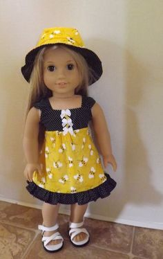 """Bee-utiful Sundress and Hat for 18"""" American Girl dolls, Grace, Isabelle, Julie"""